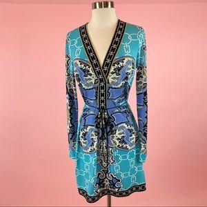 Hale Bob Patterned Print Tunic V neck Dress